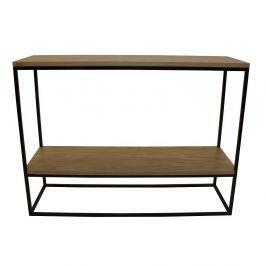 Černý konzolový stolek s deskou z dubového dřeva take me HOME Plock, 100x30cm