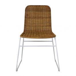Bílá jídelní židle z kovu a dřeva HSM collection Africa