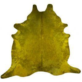 Hořčicově žlutý koberec z hovězí kůže, 255 x 226 cm