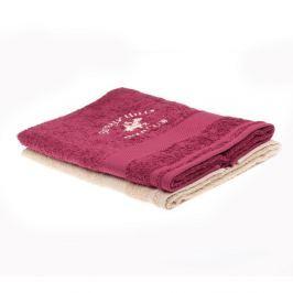 Sada vínového a béžového ručníku Beverly Hills Polo Club Tommy Orj, 50x100cm