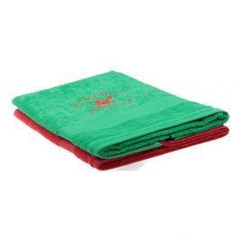 Sada zeleného a červeného ručníku Beverly Hills Polo Club Tommy Orj, 50x100cm