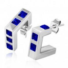 Ocelové hranaté náušnice - tmavě modré zirkonové čtverce R17.20