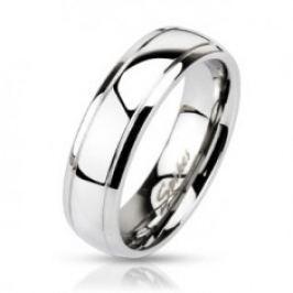 Ocelový prsten - obruč se dvěma vygravírovanými pásy C27.1