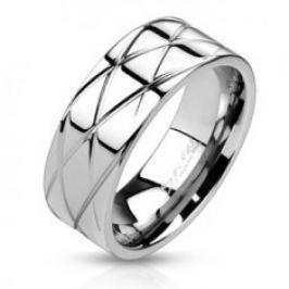 Lesklý ocelový prsten - šikmé zářezy L2.04