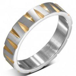Ocelový prsten stříbrné barvy se zlatými zářezy BB3.3