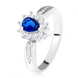 Lesklý prsten - stříbro 925, tmavě modrý zirkon - slza, čiré kamínky SP27.15
