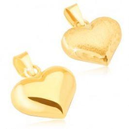 Zlatý přívěsek 585 - trojrozměrné pravidelné srdce, saténovo-lesklé GG14.01