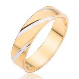 Zlatý kroužek na prst se stříbrnými diagonálními zářezy BB7.9