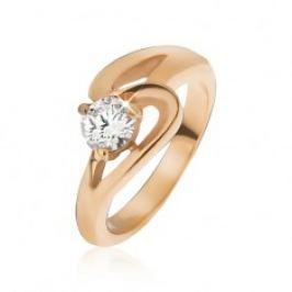 Prsten z oceli zlaté barvy, zvlněná linie a čirý zirkon J04.13