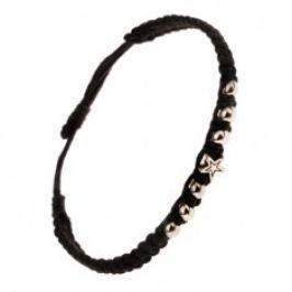 Náramek ze šňůrek černé barvy - hustě spletený, lesklé kuličky a hvězdička S25.07