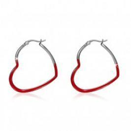 Ocelové náušnice, červené souměrné glazované obrysy srdcí S37.11