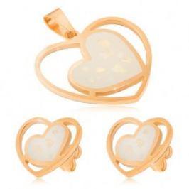 Zlatá sada z oceli - náušnice a přívěsek, bílá perleťová srdce S37.25