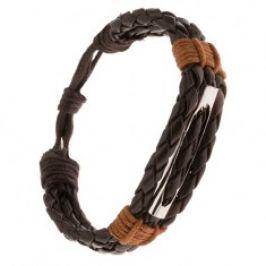 Náramek - tři čokoládově hnědé pletence, skořicově hnědá šňůrka, rourka S38.08