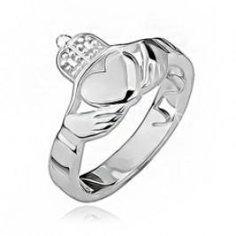 Stříbrný prsten 925 - srdce, ruce, korunka, výřezy po obvodu BB13.08
