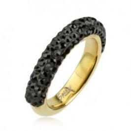 Ocelový prsten zlaté barvy zdobený černými zirkony E5.17