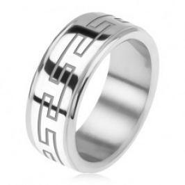 Ocelový prsten, zrcadlově lesklý, snížené okraje, řecký klíč BB9.8