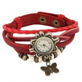 Náramkové hodinky, ozdobně vyřezávané, červený pletený řemínek, korálky S71.13