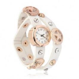 Náramkové hodinky zlaté barvy, bílý okovaný řemínek, hvězdy S87.07