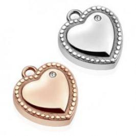 Ocelový přívěsek - srdce, ozdobně gravírované kuličky, čirý zirkon SP36.03/SP36.04
