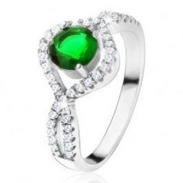 Stříbrný 925 prsten, kulatý zelený kámen, zatočená zirkonová ramena U19.02