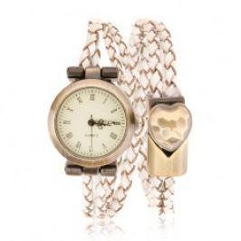 Náramkové hodinky, pletený řemínek, ciferník a přezka matné zlaté barvy S71.10