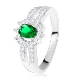 Prsten ze stříbra 925, tmavě zelený kamínek, rozdvojená zdobená ramena SP22.21