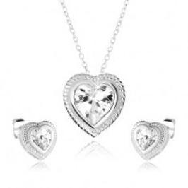 Souprava náhrdelníku a náušnic ze stříbra 925, symetrické srdce, čirý zirkon SP43.06