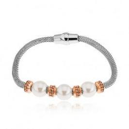 Ocelový náramek, kolečka v měděném odstínu, korálky s perleťovým leskem S83.11