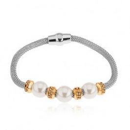 Ocelový náramek, perleťové korálky, kolečka ve zlaté barvě, síťovaný řetízek S83.15