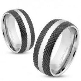Ocelový prsten s černým mřížkovaným povrchem, pás stříbrné barvy, 6 mm 39.17