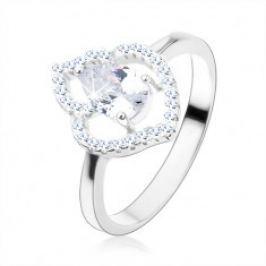Prsten, stříbro 925, čirá zirkonová kapka, blyštivá kontura listu HH2.4