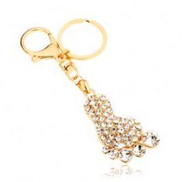 Přívěsek na klíče ve zlaté barvě, třpytivé chodidlo, čiré zirkony SP65.22