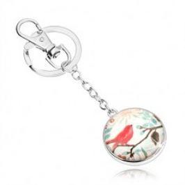 Cabochon klíčenka, kruh se sklem, červený ptáček na větvi s lístky, květy SP69.09