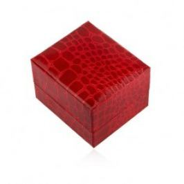 Lesklá dárková krabička na prsten, červená barva, krokodýlí vzor U23.7