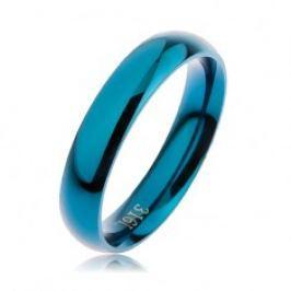 Prsten z oceli 316L modré barvy, hladký zaoblený povrch bez vzoru, 4 mm HH4.8