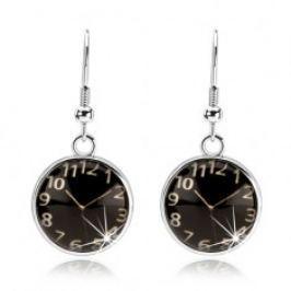Náušnice cabochon, vypouklé sklo, hodinky - černý podklad, afro háčky SP70.04