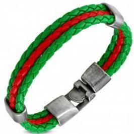 Náramek v zelenočervené kombinaci, umělá kůže, pohyblivé ovály z oceli SP80.16
