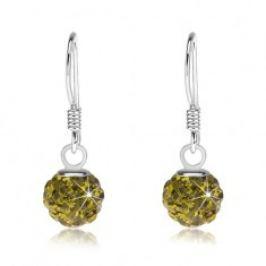 Kuličkové náušnice ze stříbra 925, Preciosa krystaly zelené barvy, 6 mm SP85.01