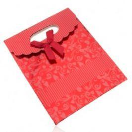Lesklá dárková taštička z papíru, tmavě červená, mašle, výřez U22.15