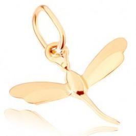 Přívěsek ve žlutém 9K zlatě - malá letící vážka, lesklo-matná křídla GG81.10