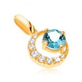 Přívěsek ve žlutém 14K zlatě, zirkonový srpek měsíce, kulatý modrý topas GG91.09