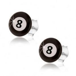 Náušnice, stříbro 925, magická biliárová koule - černá a bílá barva, číslo 8 SP14.20