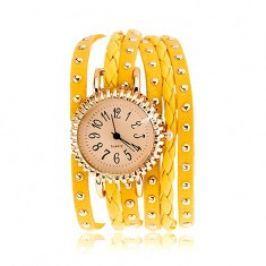 Analogové hodinky, žlutý nastavitelný řemínek, karabinkové zapínání U9.3