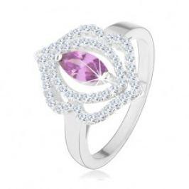 Prsten, stříbro 925, zirkonové zrnko - tanzanitový odstín, dvojitá obruba HH12.8