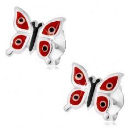 Náušnice ze stříbra 925, lesklí červení motýlci - bílé a černé tečky, puzetky I35.27