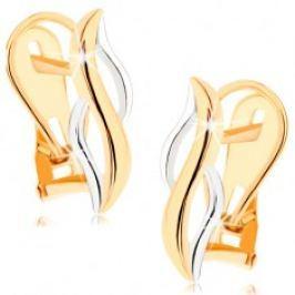 Zlaté náušnice 375 - lesklé svislé vlnky ze žlutého a bílého zlata GG57.07