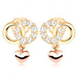 Dvoubarevné zlaté náušnice 585 - propojené kroužky, visící vypouklé srdíčko GG102.02