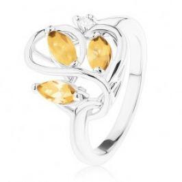 Prsten s lesklými rameny, zvlněné propletené linie, světle hnědé zirkony R39.22
