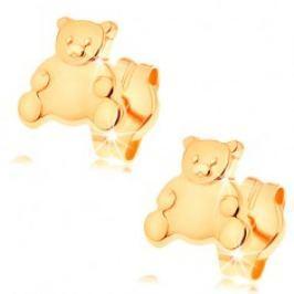 Zlaté náušnice 585 - roztomilý medvídek s lesklým hladkým bříškem GG147.06