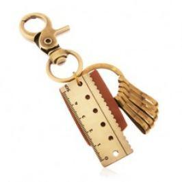 Klíčenka v mosazném odstínu, hnědý kožený pás, přívěsek v podobě pravítka Z38.8
